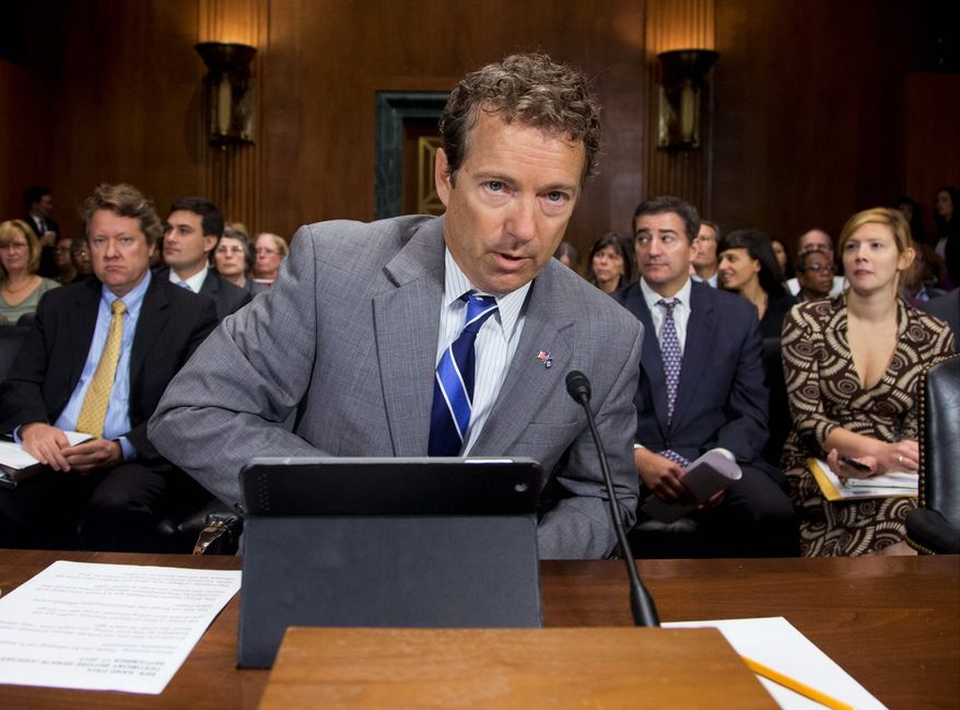 """""""I think of instead of the libertarian aspect of the Republican Party being a detriment, I actually think it has come full circle and it really is the way the Republican Party will grow,"""" Sen. Rand Paul, Kentucky Republican, says of his political future. (Associated Press)"""