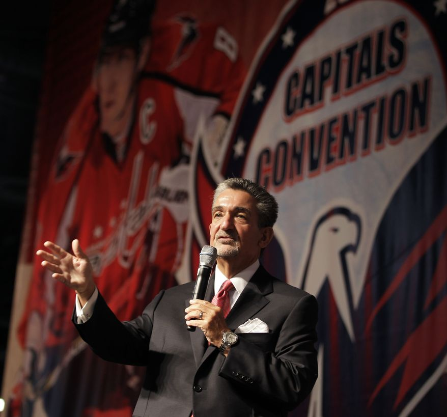 Washington Capitals majority owner Ted Leonsis speaks during the team's Capitals Convention, Saturday, Sept. 21, 2013, in Washington. Leonsis announced that the team will host the NHL's annual Winter Classic outdoor hockey game on New Year's Day in 2015. (AP Photo/Luis M. Alvarez)