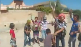 "A screen capture of a video posted to YouTube that appears to show a group of Syrian children playing a game called ""Behead the Enemy"" while chanting ""Allahu Akbar,"" or ""Allah is greater,"" is seen here."