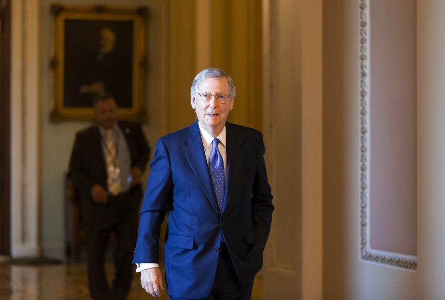 Senate Minority Leader Mitch McConnell, Kentucky Republican, returns to his office after speaking on the Senate floor on Capitol Hill on Sept. 24, 2013. (Associated Press)
