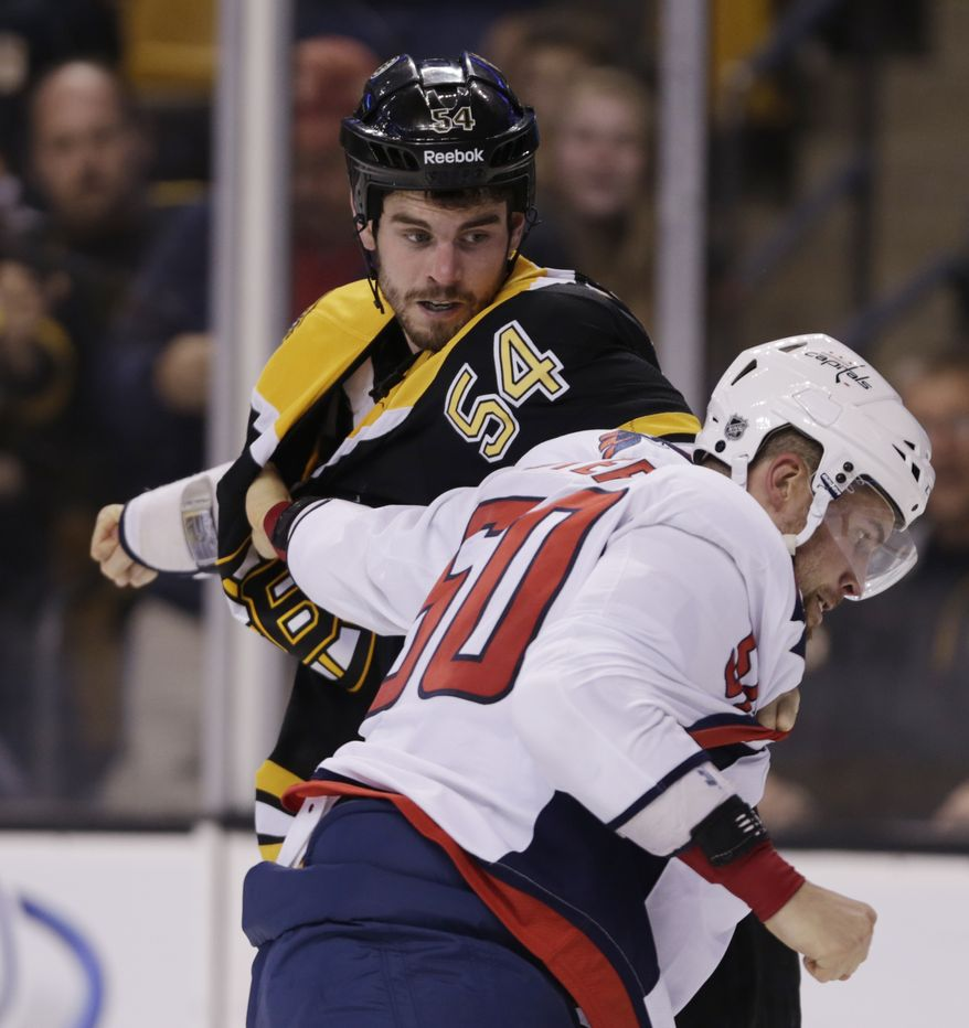 Boston Bruins defenseman Adam McQuaid (54) fights Washington Capitals left wing Dane Byers (50) during the second period of an NHL hockey game, Monday, Sept. 23, 2013, in Boston. (AP Photo/Charles Krupa)