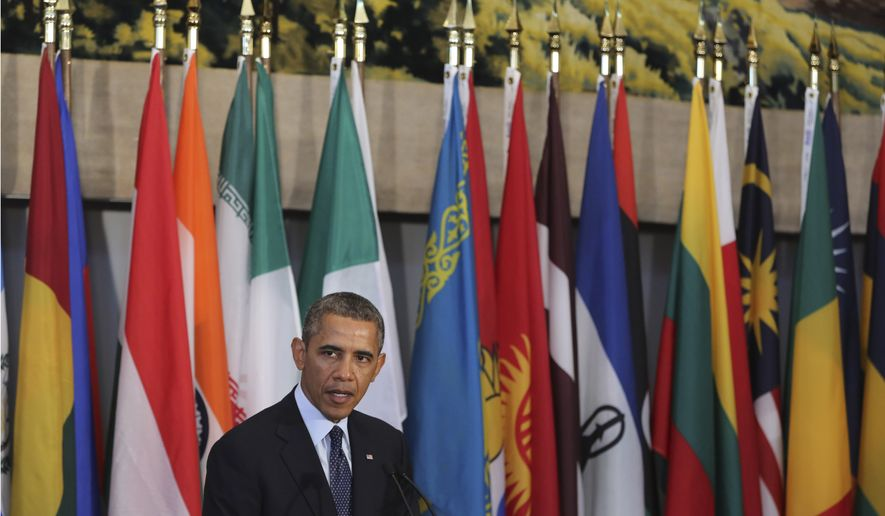 President Obama speaks during a luncheon hosted by United Nations Secretary-General Ban Ki-moon in New York on Sept. 24, 2013. (Associated Press) ** FILE **