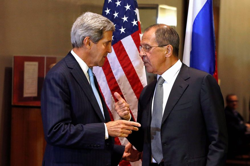 "Talks on Tuesday during the U.N. General Assembly between Secretary of State John F. Kerry and Russian Foreign Minister Sergei Lavrov about Syria's chemical weapons were described as ""constructive,"" diplomatic-speak for cautious optimism. (Associated Press)"