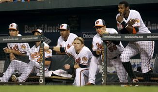 Members of the Baltimore Orioles watch from the dugout in the eighth inning of a baseball game against the Toronto Blue Jays, Tuesday, Sept. 24, 2013, in Baltimore. Toronto won 3-2 in ten innings. (AP Photo/Patrick Semansky)