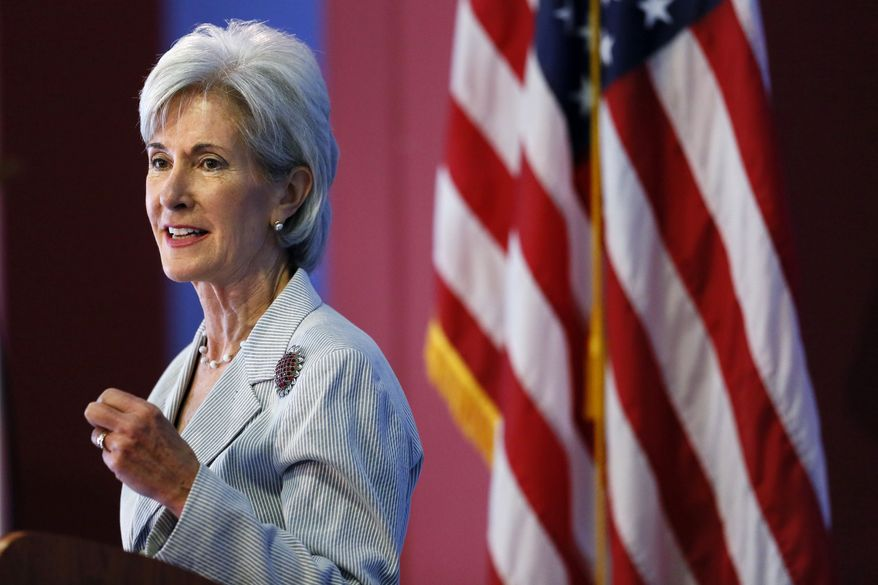 ** FILE ** In this Aug. 22, 2013, file photo, Health and Human Services Secretary Kathleen Sebelius speaks during an event discussing the federal health care overhaul in Philadelphia. With new health insurance markets launching next week, the Obama administration is unveiling premiums and plan choices for 36 states where the federal government is taking the lead to cover uninsured residents. (AP Photo/Matt Rourke, File)