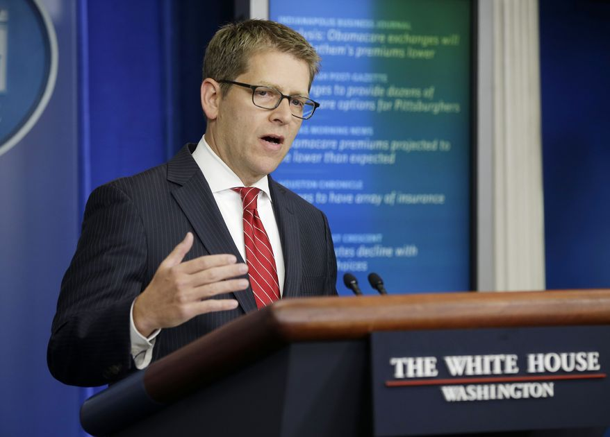 White House spokesman Jay Carney speaks during his daily news briefing at the White House on Sept. 25, 2013. (Associated Press)