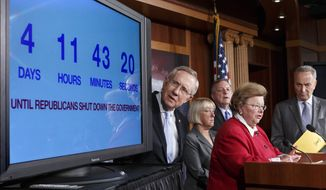 With four days to go before the federal government is due to run out of money, Senate Majority Leader Harry Reid (left), Nevada Democrat, looks at a countdown clock during a Sept. 26, 2013, news conference on Capitol in Washington, where Senate Democratic leaders blamed conservative Republicans for holding up a stopgap spending bill to keep the government running. From left are Reid, Senate Budget Committee Chair Sen. Patty Murray of Washington, Senate Majority Whip Richard Durbin of Illinois, Senate Appropriations Committee Chair Barbara Mikulski of Maryland, and Charles Schumer of New York, the Democratic Policy Committee chairman. (Associated Press)