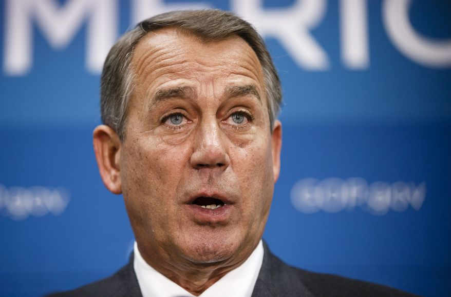 Speaker of the House John Boehner, Ohio Republican, and GOP leaders speak to reporters after a closed-door strategy session at the Capitol in Washington on Sept. 26, 2013. (Associated Press)