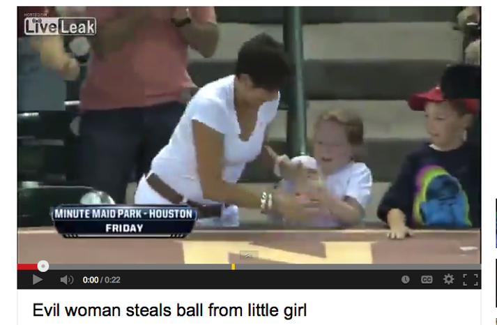 """""""Evil woman steals ball from little girl"""" (YouTube)"""