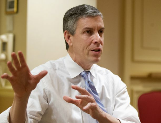 **FILE** Education Secretary Arne Duncan is interviewed by the Associated Press in Washington on Jan. 17, 2013. (Associated Press)