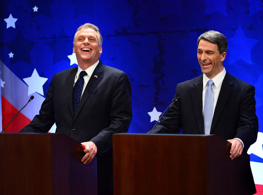 Virginia gubernatorial candidates Democrat Terry McAuliffe, left, and Republican Attorney General Ken Cuccinelli talk before a Fairfax County Chamber of Commerce debate Wednesday, Sept. 25, 2013, in McLean, Va. (AP Photo/The Washington Post, Linda Davidson, Pool)