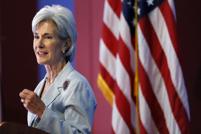 ** FILE ** In this Aug. 22, 2013, file photo, Health and Human Services Secretary Kathleen Sebelius speaks during an event discussing the federal health care overhaul in Philadelphia. (AP Photo/Matt Rourke, File)
