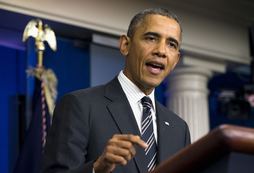 President Obama makes statement regarding the budget fight in Congress and foreign policy challenges on Sept. 27, 2013, in the James Brady Press Briefing Room of the White House in Washington. The president said the debt ceiling breach far worse than a government shutdown and would effectively shutter economy. (Associated Press)