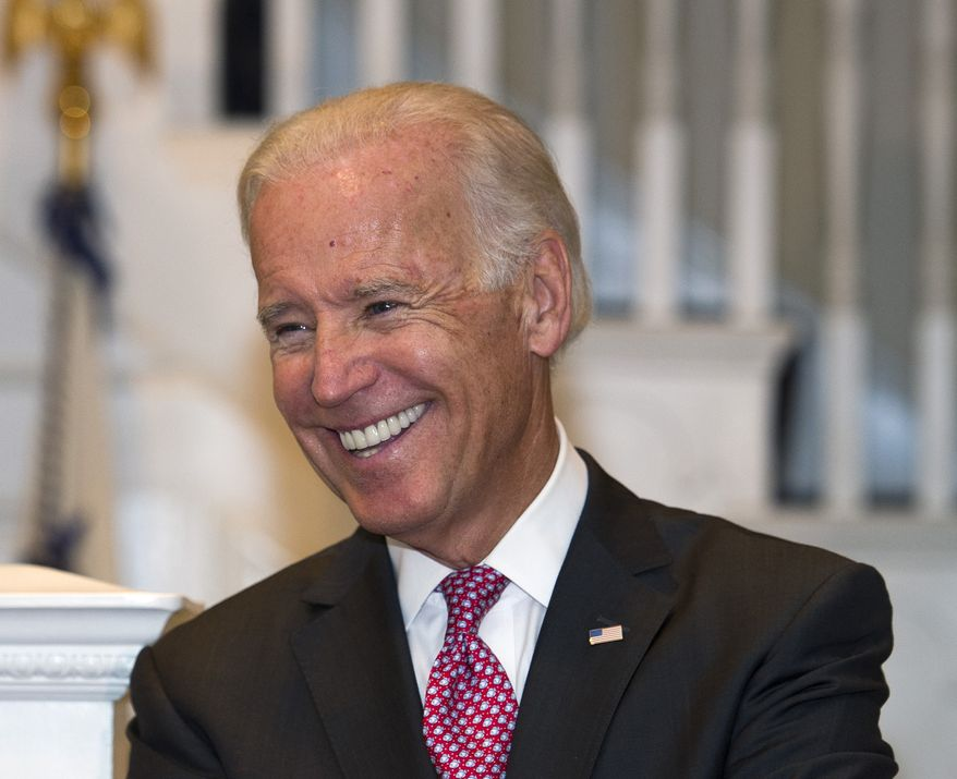 ** FILE ** Vice President Joseph R. Biden smiles while hosting a reception at the Naval Observatory in Washington, Sept. 12, 2013. (AP Photo/Cliff Owen, File)