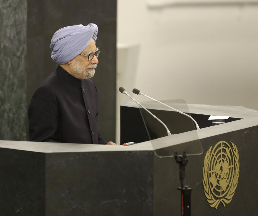 ** FILE ** Indian Prime Minister Manmohan Singh speaks during the 68th session of the General Assembly at United Nations headquarters in New York on Saturday, Sept. 28, 2013. (AP Photo/Seth Wenig)