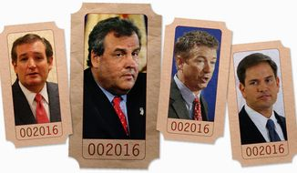 just the ticket? Sen. Ted Cruz of Texas, New Jersey Gov. Chris Christie, Sen. Rand Paul of Kentucky and Sen. Marco Rubio of Florida could stir up trouble among conservative Republicans who are waiting for one of their own in the White House. (By Greg Groesch/The Washington Times)