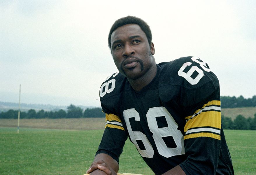 Pittsburgh Steelers' defensive end L.C. Greenwood is seen in 1973.  (AP Photo/Harry Cabluck)
