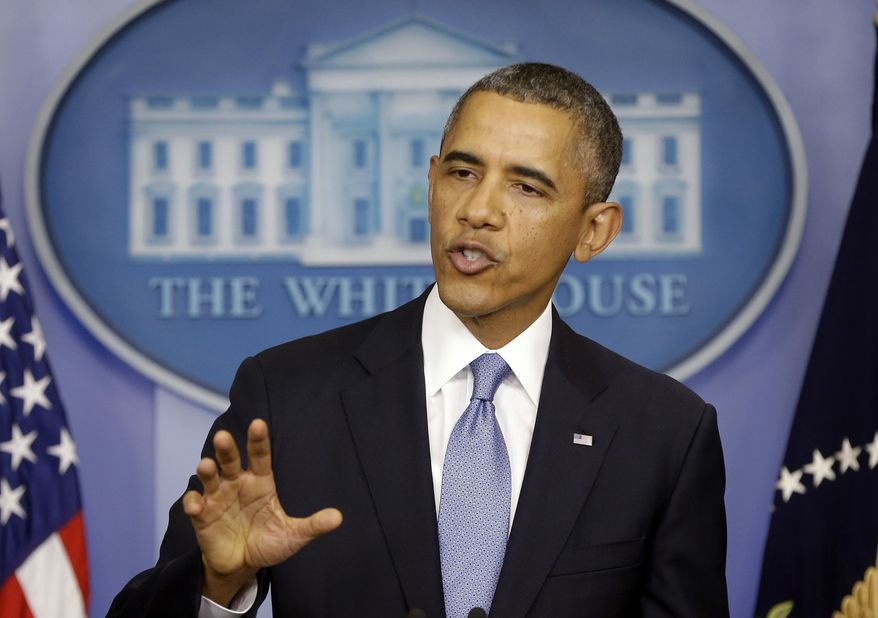 President Obama, speaking in the James Brady Briefing Room of the White House in Washington on Monday, Sept. 30, 2013, said a government shutdown would throw a wrench into the gears of the U.S. economy. (AP Photo/Pablo Martinez Monsivais)