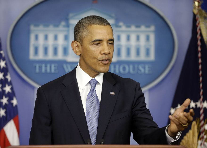 President Obama speaks in the James Brady Briefing Room of the White House in Washington on Monday, Sept. 30, 2013, regarding the budget fight in Congress. (AP Photo/Pablo Martinez Monsivais)