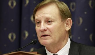 ** FILE ** In this June 19, 2012, file photo, Rep. Spencer Bachus, R-Ala., speaks on Capitol Hill in Washington. Bachus says he won't seek re-election after his current term. The 6th District congressman made the announcement during a live interview Monday on Birmingham, Ala., station WBRC-TV. (AP Photo/Jacquelyn Martin, File)
