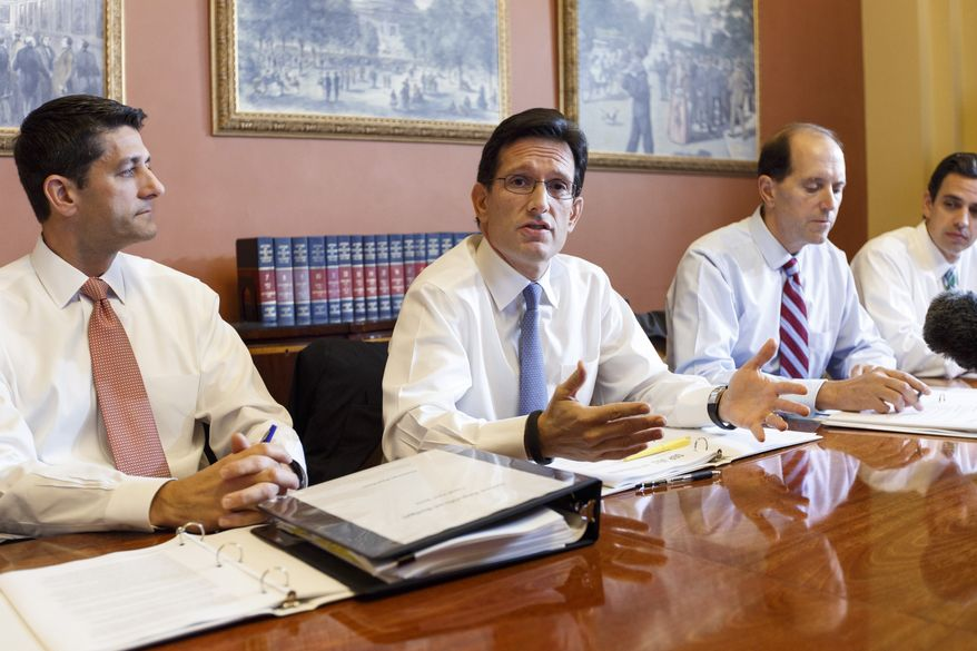 With the federal government out of money and out of time, House Majority Leader Eric Cantor (second from left) meets with House GOP conferees as the Republican-controlled House and the Democrat-controlled Senate remain at an impasse, neither side backing down over Obamacare, at the Capitol in Washington on Tuesday, Oct. 1, 2013.  With Mr. Cantor are (from left) Reps. Paul Ryan, Dave Camp and Tom Graves. (AP Photo/J. Scott Applewhite)