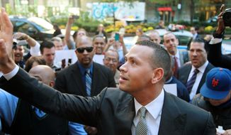 New York Yankees' Alex Rodriguez arrives at the offices of Major League Baseball, Tuesday, Oct. 1, 2013 in New York. The grievance to overturn Rodriguez's 211-game suspension began Monday before arbitrator Fredric Horowitz. (AP Photo/David Karp)
