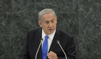 Israeli Prime Minister Benjamin Netanyahu addresses the 68th session of the U.N. General Assembly on Tuesday, Oct. 1, 2013, at the international body's headquarters in New York. (AP Photo/Andrew Gombert, Pool)