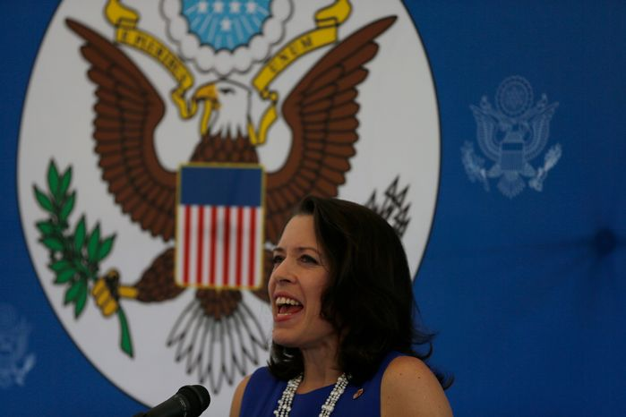Kelly Keiderling, charge d'affairs of the U.S. Embassy in Caracas, Venezuela, gives a news conference on Tuesday, Oct. 1, 2013, after Venezuelan President Nicolas Maduro expelled her and two other embassy officials from the country. (AP Photo/Fernando Llano)