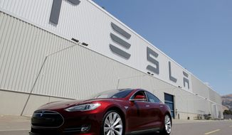 The Tesla Model S, an electric car that sells for $70,000, received the highest safety rating ever recorded from the federal government but a crash and resulting fire sent the stock tumbling Thursday. (Associated Press)