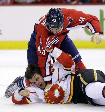 Washington Capitals right wing Tom Wilson (43) fights with Calgary Flames center Lance Bouma (17) in the first period of an NHL hockey game on Thursday, Oct. 3, 2013, in Washington. (AP Photo/Alex Brandon)