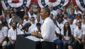 President Obama speaks about the government shutdown and debt ceiling during a visit to the M. Luis Construction Co., which specializes in asphalt manufacturing, concrete paving, and roadway reconstruction, on Thursday, Oct. 3, 2013, in Rockville, Md. (AP Photo/Charles Dharapak)