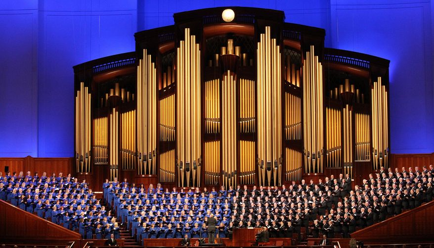 Members of the Mormon Tabernacle Choir perform during the opening session of the two-day Mormon church conference Saturday, Oct. 5, 2013, in Salt Lake City. The president of the Mormon church says worldwide membership has hit 15 million, representing a three-fold increase over the three decades. President Thomas S. Monson announced the milestone during the opening session of the two-day Mormon church conference Saturday morning. The biannual general conference of The Church of Jesus Christ and Latter-day Saints brings 100,000 members to Salt Lake City. More than half of church members live outside of the United States. (AP Photo/Rick Bowmer)