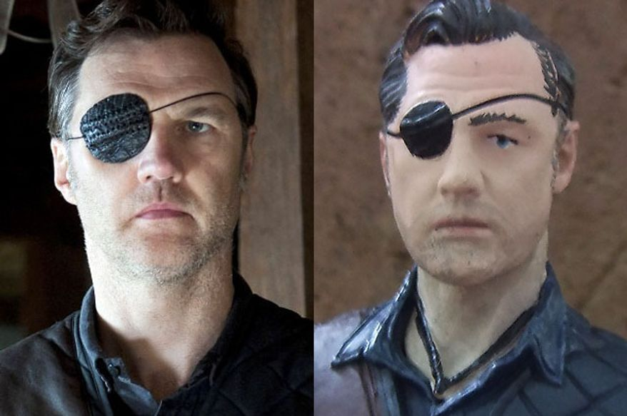 """Actor David Morrissey with eye patch in AMC's """"The Walking Dead."""" compared to the Governor from McFarlane Toys' The Walking Dead TV Series 4."""