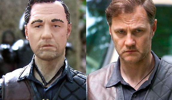 """The Governor from McFarlane Toys' The Walking Dead TV Series 4 compared to actor David Morrissey in AMC's """"The Walking Dead."""""""