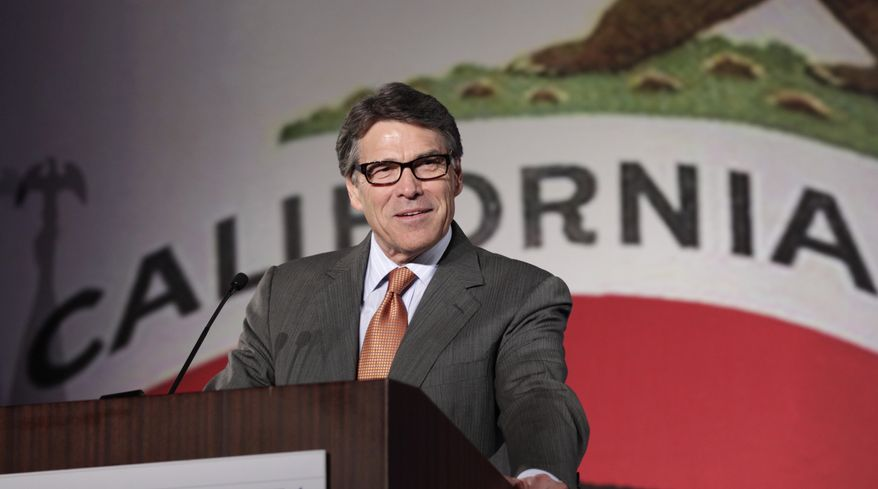 ** FILE ** Texas Gov. Rick Perry gives the keynote speech at the California Republican Party convention in Anaheim, Calif., Saturday, Oct. 5, 2013.  (AP Photo/Reed Saxon)