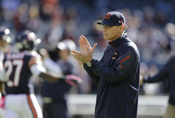 Chicago Bears head coach Marc Trestman watches his team before an NFL football game against the New Orleans Saints, Sunday, Oct. 6, 2013, in Chicago.(AP Photo/Nam Y. Huh)
