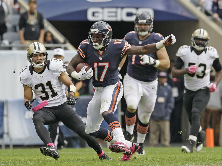 Chicago Bears wide receiver Alshon Jeffery (17) rushes during the second half of an NFL football game against the New Orleans Saints, Sunday, Oct. 6, 2013, in Chicago. Saints won 26-18. (AP Photo/Nam Y. Huh)