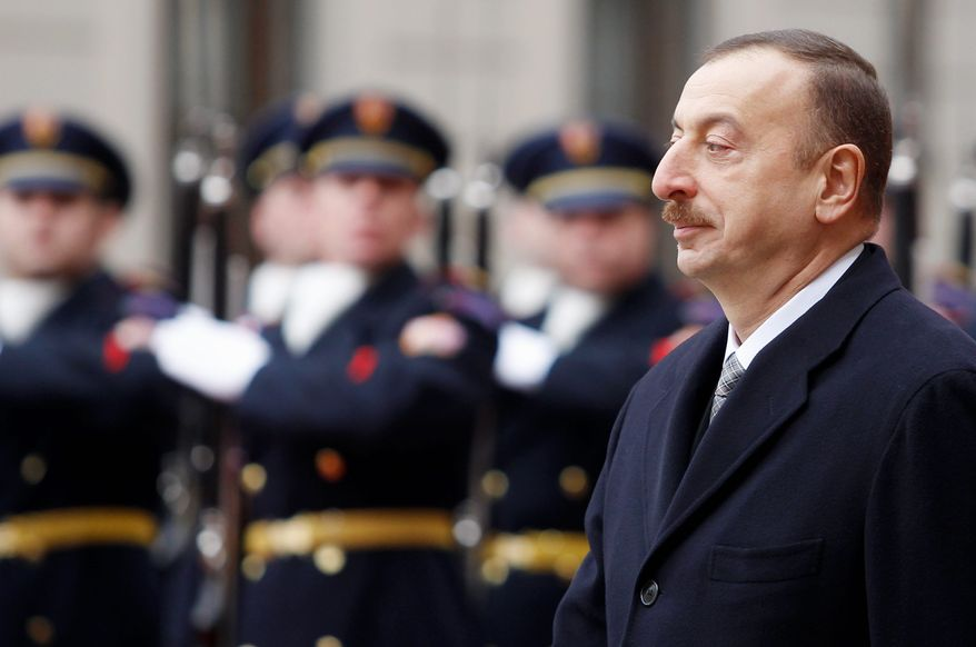 In power: Hopes were high when Azerbaijani President Ilham Aliyev took power, but human rights have since become a concern. He is seeking another term in a Wednesday election. (ASSOCIATED PRESS)
