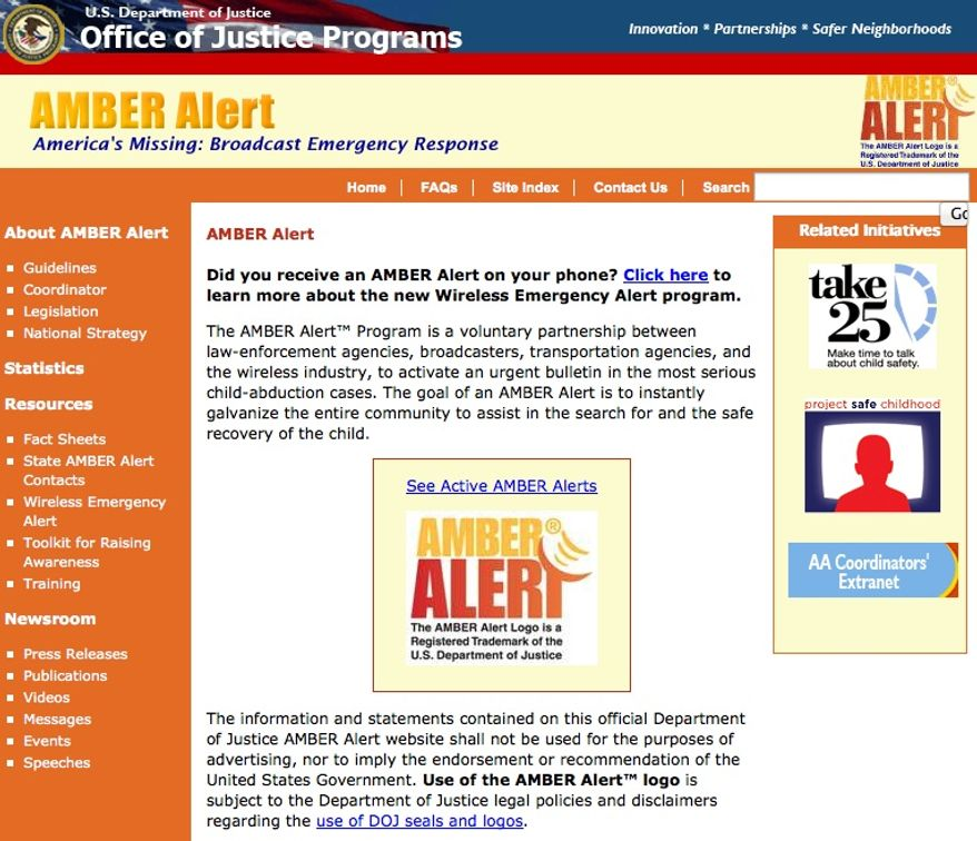 The federal government's Amber Alert website, seen here in a screen capture from Monday afternoon, was restored after being shut down since the previous night.