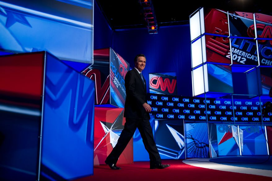 Republican presidential hopeful Mitt Romney takes the stage for the Southern Republican Presidential Debate at the North Charleston Colosseum, Charleston, SC, Thursday, January 19, 2012.(Andrew Harnik / The Washington Times)