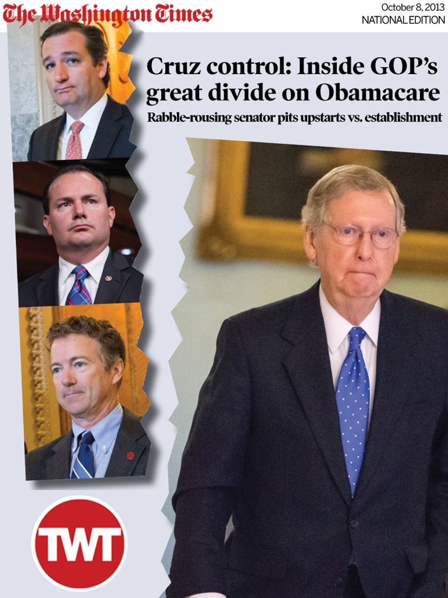 National Edition News Cover for October 8, 2013 - DIVIDE: Sen. Ted Cruz (top) is one of the vocal tea party Republicans who are shaking up the party, along with Sen. Mike Lee (center) and Sen. Rand Paul. They are causing heartburn for Senate Minority Leader Mitch McConnell (right). (Associated Press)
