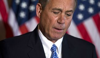 ** FILE ** Speaker of the House Rep. John Boehner, R-Ohio, pauses during a news conference on the ongoing budget battle outside his office on Capitol Hill on Tuesday, Oct. 8, 2013, in Washington. (AP Photo/ Evan Vucci)