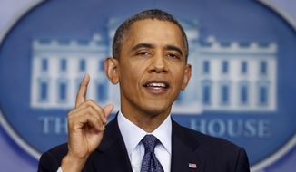 President Obama speaks about the the budget and the partial government shutdown, Tuesday, Oct. 8, 2013, in the Brady Press Room of the White House in Washington. (AP Photo/Charles Dharapak)