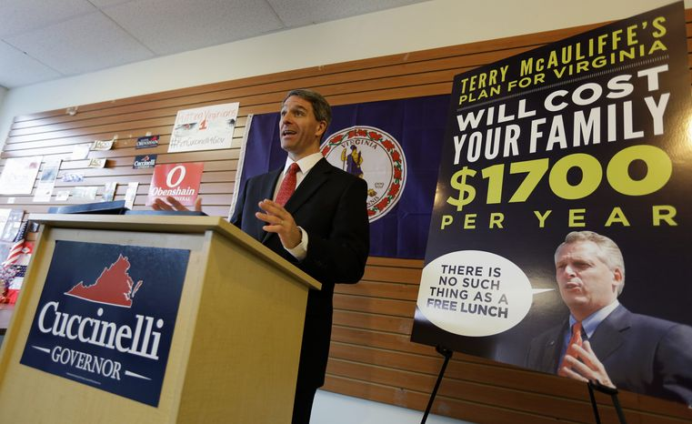Virginia Attorney General Kenneth T. Cuccinelli II, the Republican gubernatorial candidate, claimed that Democratic opponent Terry McAuliffe's proposals would cost the typical family of four more that $1,700 per year in additional taxes. (Associated Press)