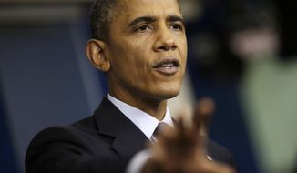 When Mr. Obama became president in January 2009, the total federal debt stood at $10.6 trillion. This week, it hit $16.7 trillion — an increase of 57 percent. In the same time frame under President George W. Bush, total federal debt rose 38 percent. Mr. Obama is shown here speaking about the budget and the partial government shutdown, Tuesday, Oct. 8, 2013, in the Brady Press Room of the White House in Washington. (AP Photo/Pablo Martinez Monsivais)