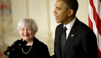 Janet Yellen, vice chair of the Board of Governors of the Federal Reserve System, smiles as President Barack Obama speaks in the State Dining Room of the White House in Washington, Wednesday, Oct. 9, 2013, where the president announced he is nominating Yellen to be chair of the Federal Reserve, succeeding Ben Bernanke. (AP Photo/Pablo Martinez Monsivais)