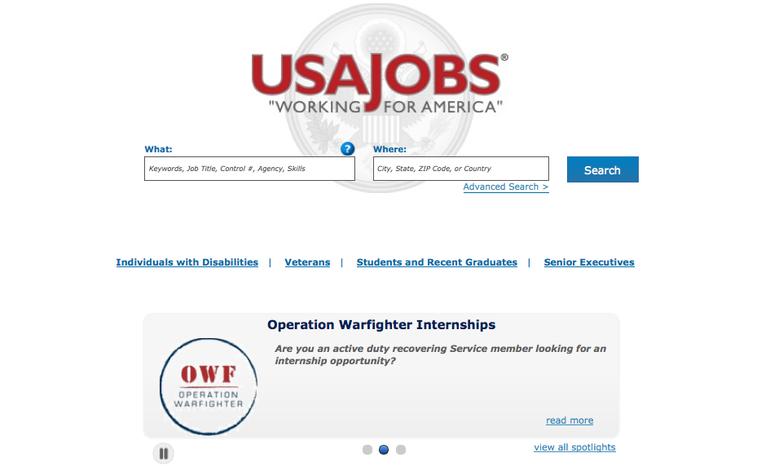 Screen grab of https://www.usajobs.gov/