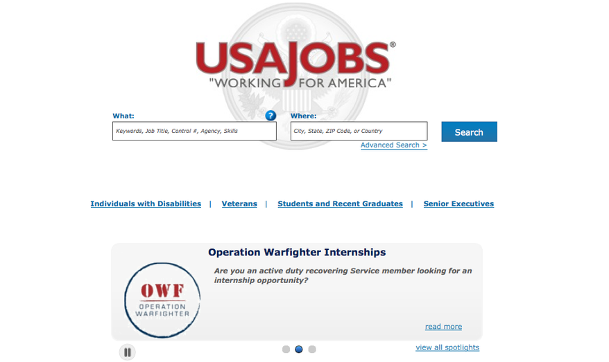 Screen grab of https://www.usajobs.gov/