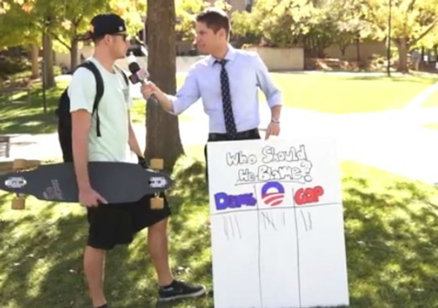 A Campus Reform reporter asks college kids in the University of Colorado who is to blame for the government shutdown. (Image: YouTube)