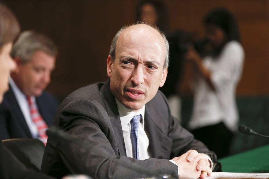 **FILE** Commodity Futures Trading Commission Chairman Gary Gensler testifies on Capitol Hill in Washington before the Senate Banking Committee on July 30, 2013, as lawmakers examine how to mitigate systemic risk in financial markets through Wall Street reforms. (Associated Press)
